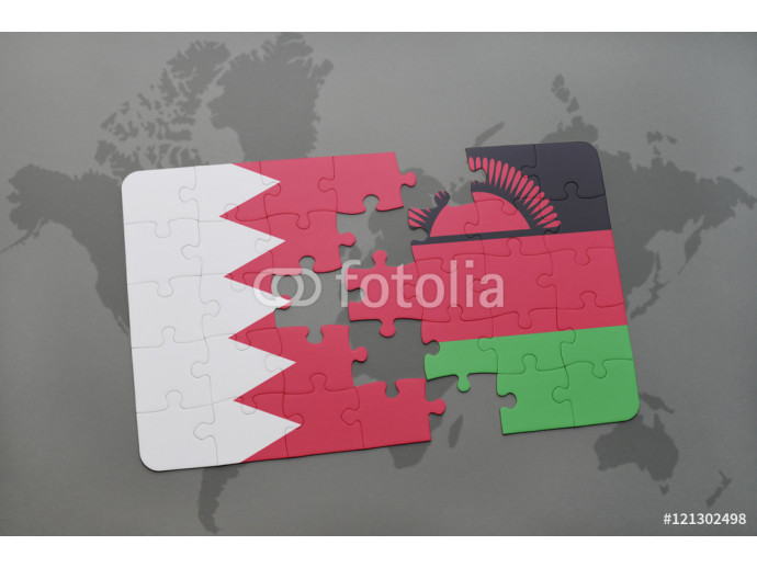 Wallpaper puzzle with the national flag of bahrain and malawi on a world map background. 64238