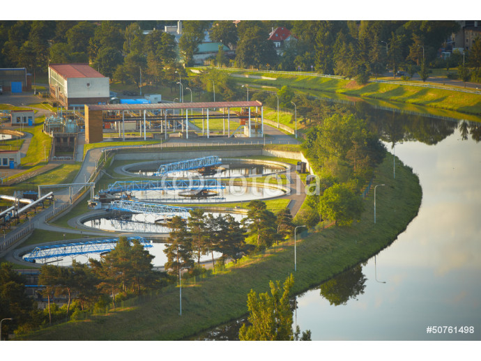 Waste water treatment plant at the sunrise, Prague 64238