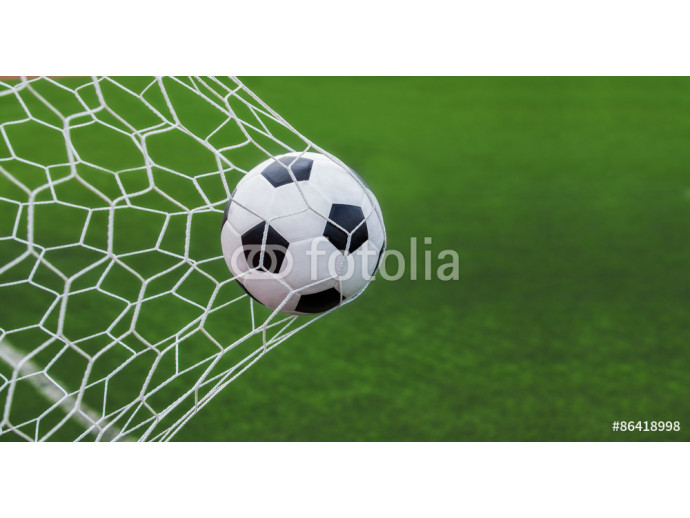 soccer ball in goal with green backgroung 64238