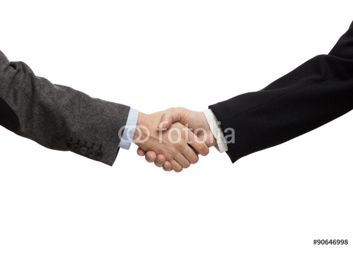 Businessmen shaking hands, isolated on white. Closeup 64238
