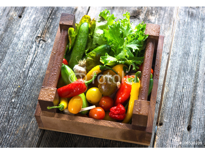 Fotomurale Delicious fresh vegetables in wooden crates 64238