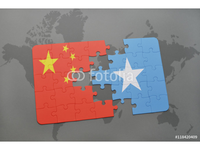 puzzle with the national flag of china and somalia on a world map background. 64238
