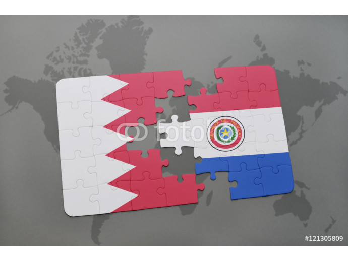 puzzle with the national flag of bahrain and paraguay on a world map background. 64238