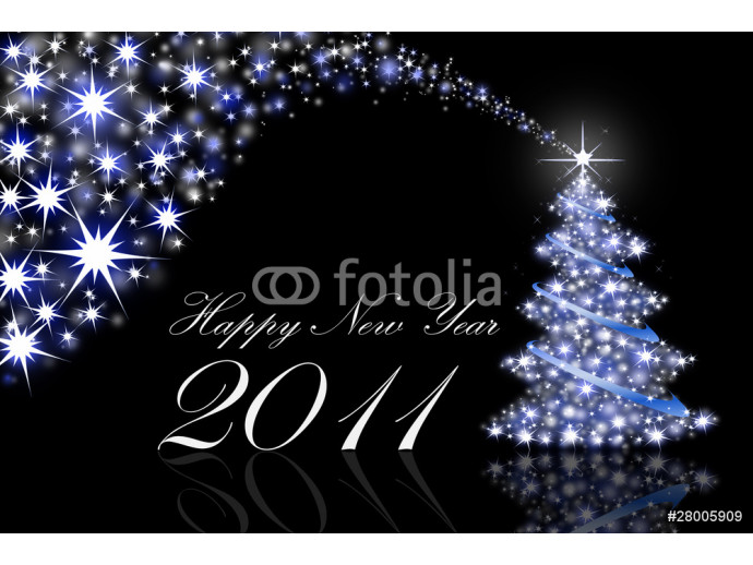 Fototapeta New Year Greeting Cards 2011 on black with blue light 64238