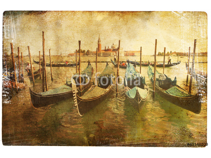 views of Venice in vintage style, like postcards 64238
