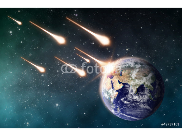meteorite impacts the Earth space scene 64238