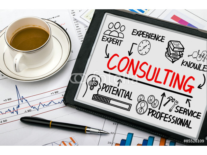 consulting concept chart with business elements on tablet pc 64238
