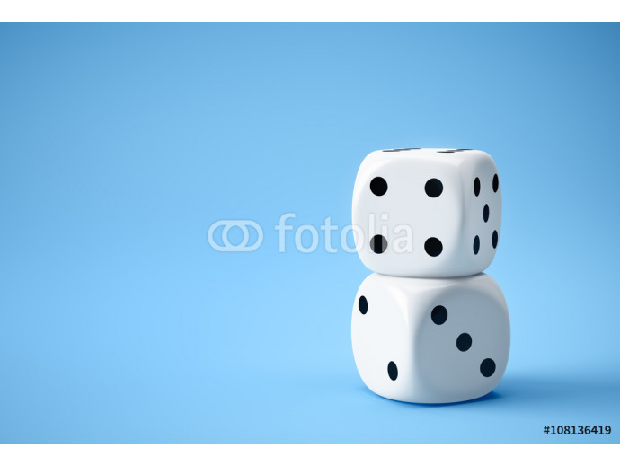 two white dices on blue background 64238