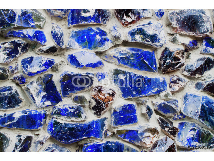 Blue walls from Colored stone and glass mosaic, texture background 64238