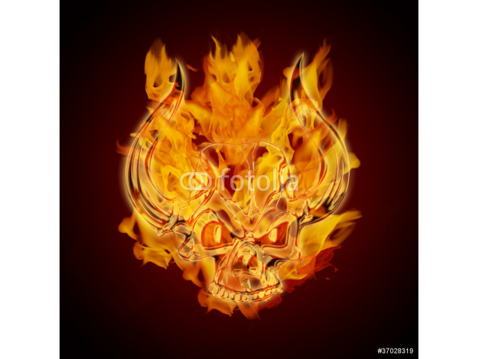 Fire Burning Flaming Skull with Horns 64238