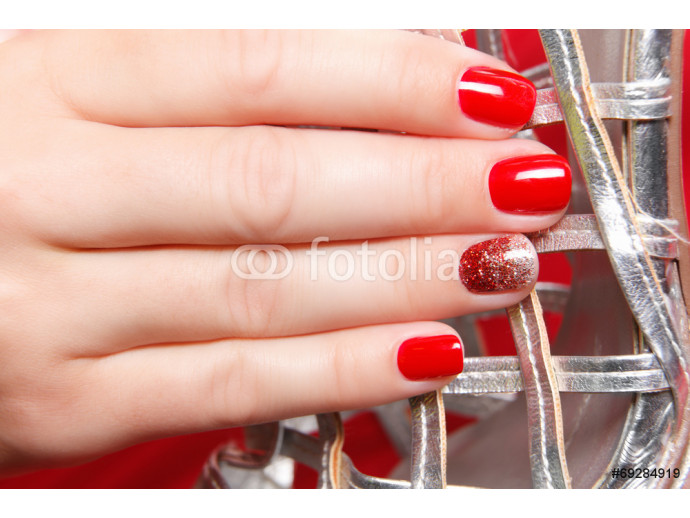 Portrait of beautiful nail polished fingers 64238