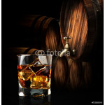 Glass of cognac on the vintage wooden barrel 64238