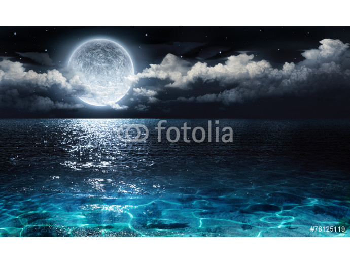 romantic and scenic panorama with full moon on sea to night 64238