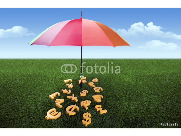 Currency units under the colourful umbrella on green grass 64238