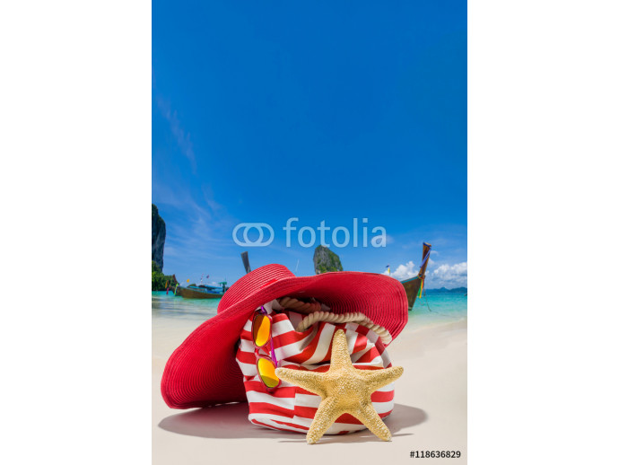 Summer beach bag with straw hat 64238