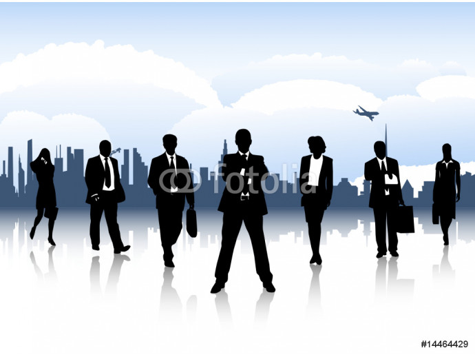 Illustration of business people and city 64238