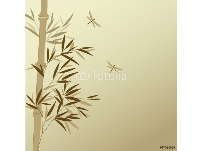 Bamboo with dragonflies in Chinese painting style 64238