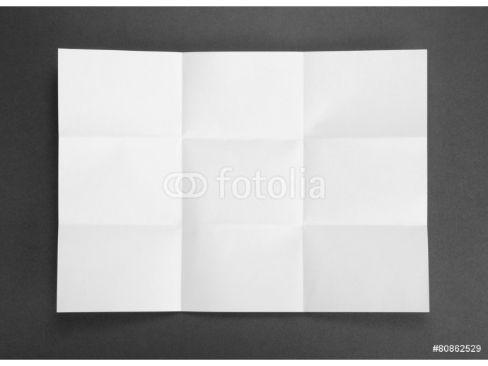 White sheet of paper folded in nine top shooting. 64238
