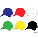 Set of Baseball Caps in Different Colours Blue Red White Green Yellow Black 64238