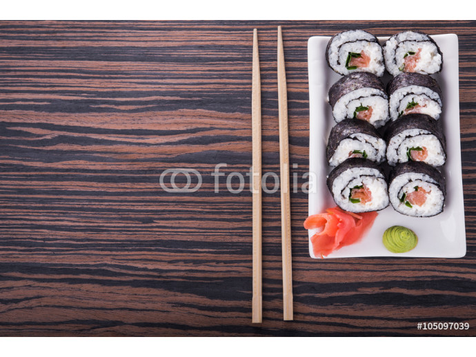 sushi with rice and salmon 64238