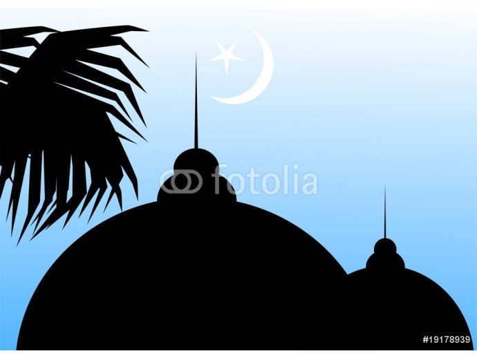 Illustration of Muslim mosque in blue background 64238