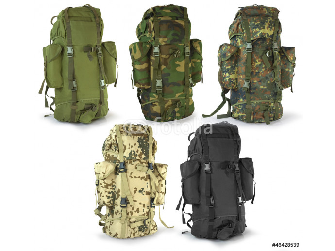 Vliestapete Military or survival  hunters  backpacks set isolated on white 64238