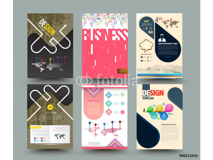 Fototapeta Set of abstract modern cover, report brochure, flyer design template with geometric triangular style, clean and modern concept. Vector illustration. 64238