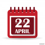 Flat calendar apps icon. Earth Day April 22 64238