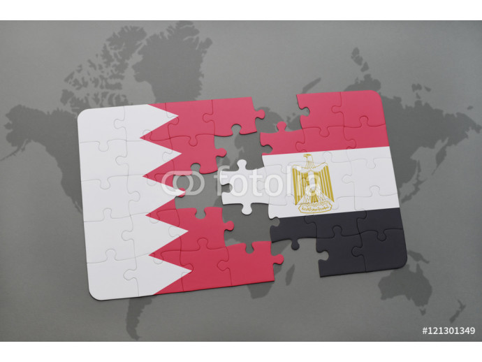 Wallpaper puzzle with the national flag of bahrain and egypt on a world map background. 64238