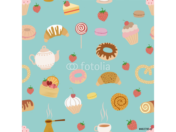 seamless pattern with different types of pastries on blue 64238