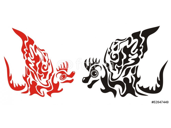 Red and black decorative dragons with a wing in tribal style 64238