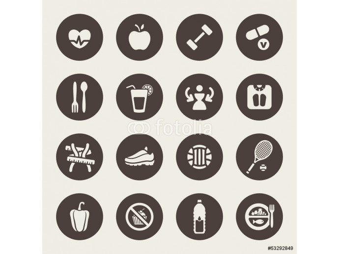 Diet and fitness theme icons set 64238