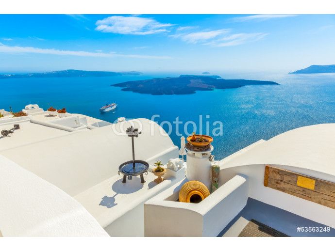 Greece Santorini island in Cyclades, traditional detail sights o 64238
