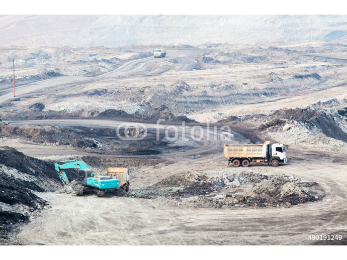 Part of a pit with big mining truck working 64238