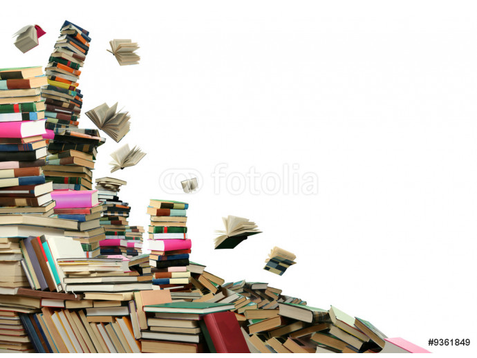 This is books scramble. Many books to scatter under sky. 64238