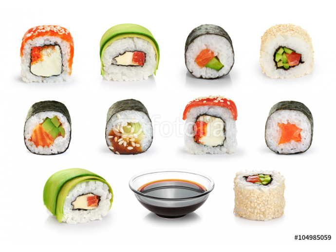 Sushi rolls and soy sauce isolated on white background. 64238