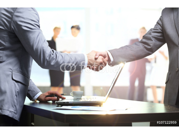 Business handshake. Two businessman shaking hands in the office. 64238