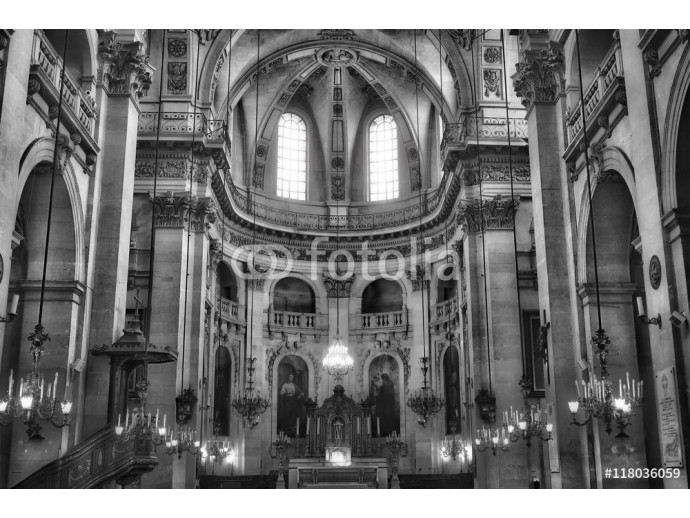 Interiors and architectural details of Saint-Paul Saint-Louis church in Paris, France. Black and white. 64238