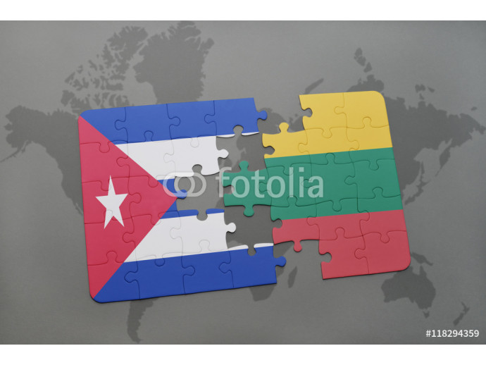 Vliestapete puzzle with the national flag of cuba and lithuania on a world map background. 64238
