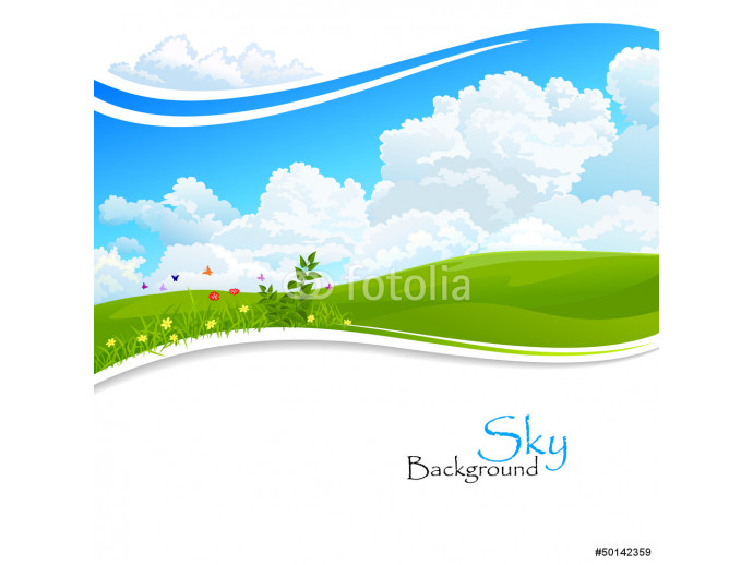 Wild flowers , Green hills and Blue Sky 64238