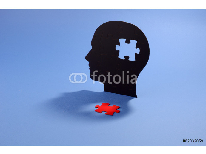 Jigsaw puzzle in the shape of a human head 64238