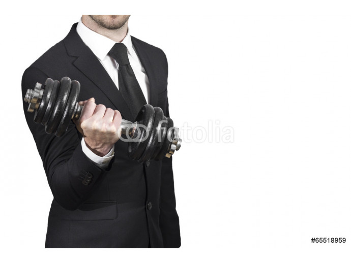 businessman lifting dumbbell weightlifting stress workout 64238