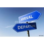 Arrival and Departure directions.  Opposite traffic sign. 64238