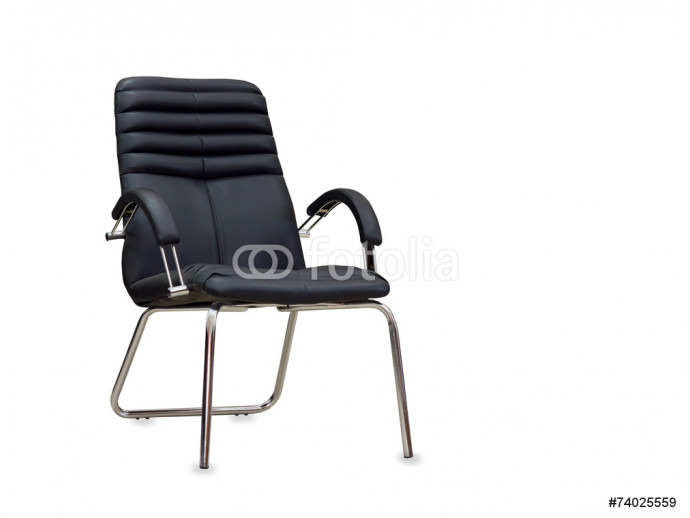 The office chair from black leather. Isolated 64238