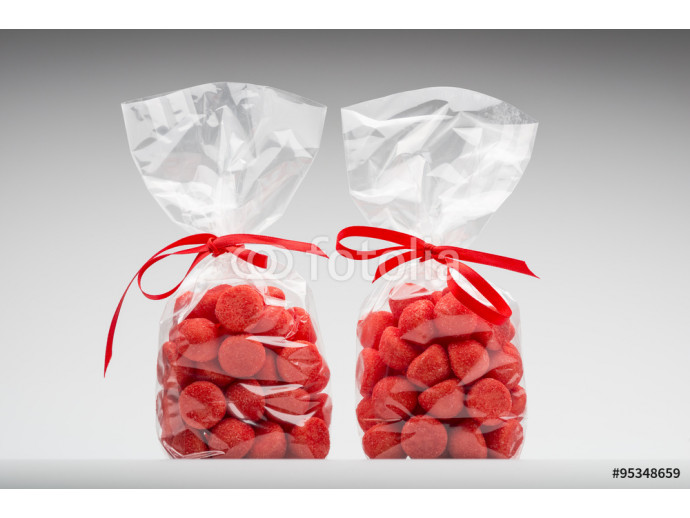 Twin elegant plastic bags of acidulous strawberry for gift 64238