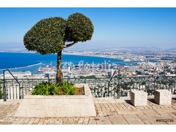 View from Mount Carmel to port and Haifa in Israel 64238