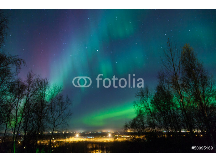Northern Lights over City 64238