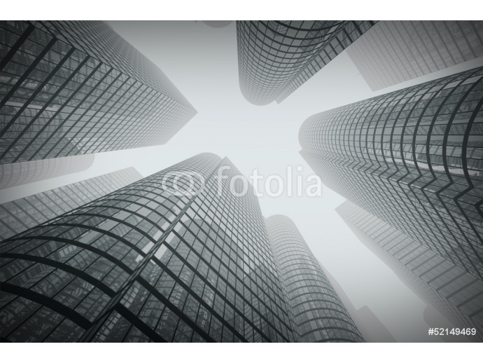 Reflective skyscrapers, business office buildings in fog. 64238