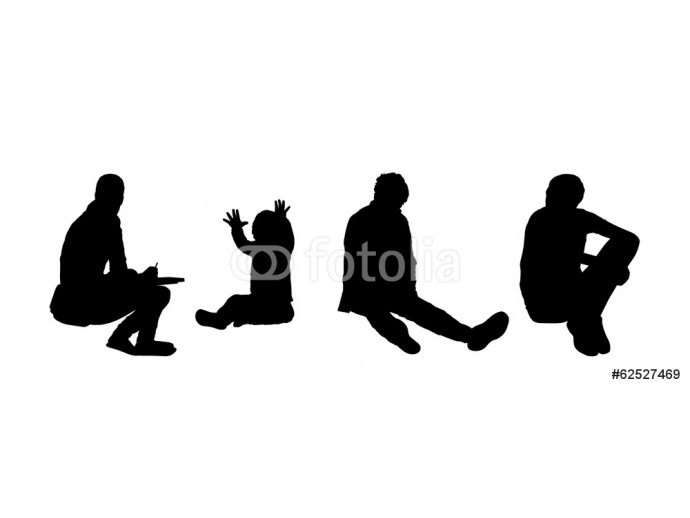 people seated outdoor silhouettes set 5 64238