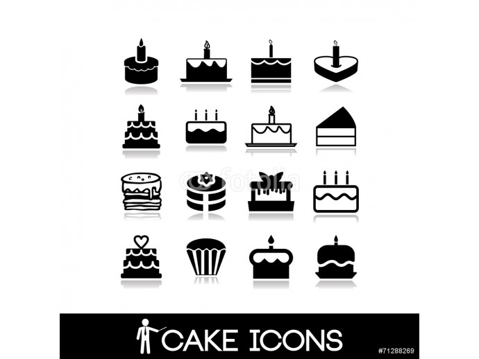 Cakes icons set - bakery, sweets, donut, cupcake collection 64238